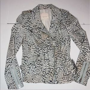 Rebecca Taylor Ombre Leopard Print Leather Jacket
